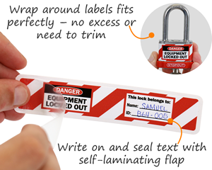 Wraparound padlock labels