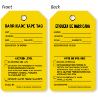 Bilingual Barricade Tape Tag