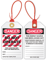 Don't Operate Equipment Locked Out Danger Tie Tag