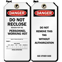 Do Not Reclose Danger Tag