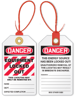 Equipment Locked Out Zip and Lock Tie Tag