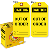 Caution Out of Order Safety Tag-in-a-Box,