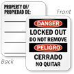 Bilingual Danger Locked Out Property Padlock Label
