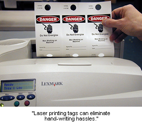 Laser Printable LOTO Tags