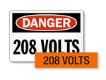 High Voltage Signs – 208 Volts
