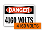 4160 volts labels