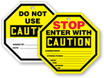 Caution Stop-Sign Shape Tags