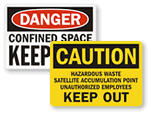 Confined Space Keep Out Signs