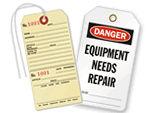 Equipment Needs Repair Tags