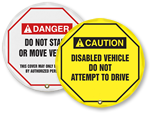 Forklift Steering Wheel Lockout Signs
