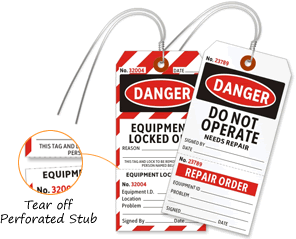 2 part safety lockout tags buy safety tags with detachable stub