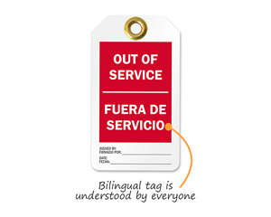 Out Of Service Bilingual Tags
