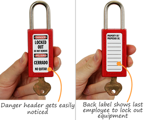 Safety padlock labels