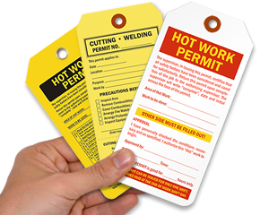 Hot Work Tags | Hot Work Permit Tags in a handy dispenser box