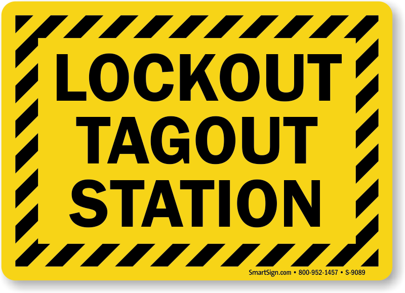 Lockout Tagout Station With Striped Border Sign Sku S 9089