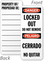 Bilingual Danger Locked Out Padlock Label