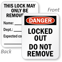 2-Sided Locked Out Remove By Padlock Label