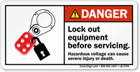 Lock Out Equipment Before Servicing Danger Label