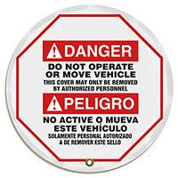 Bilingual Steering Wheel Do Not Operate Danger Message