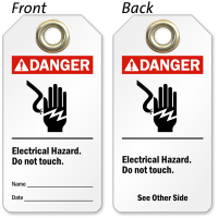 2 Sided Electrical Hazard Danger Tag