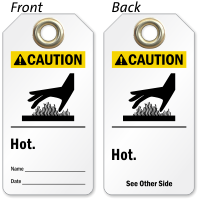 2 Sided Hot Caution Tag