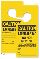 Caution Barricade Tag Lockout Door Hanger