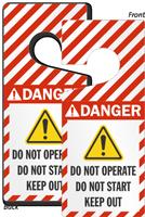 Danger Do Not Operate Start Lockout Door Hanger