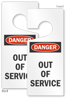 Danger Out Of Service Lockout Door Hanger
