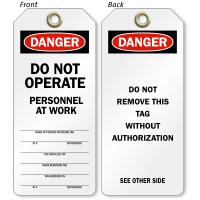 Do Not Operate OSHA Danger Tag