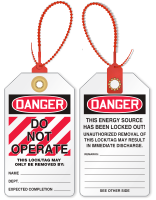 Don't Operate Loop n Lock Danger Tie Tag