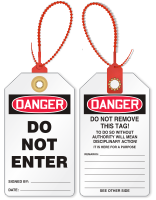 Don't Enter Loop n Lock Danger Tie Tag
