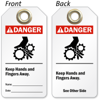 Keep Hands Fingers And Away Danger Tag