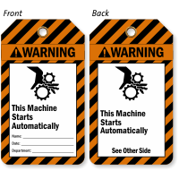 This Machine Starts Automatically Warning Tag