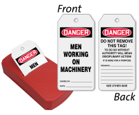 Men Working On Machinery Two-Sided Safety QuickTags™ Dispenser