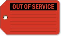 Out Of Service Vinyl Inspection Tag