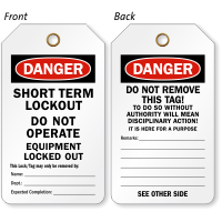 Short Term Lockout Tag