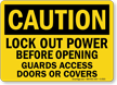 Caution Sign: Lockout Power Before Opening Guards