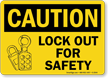 Caution Sign: Lock Out For Safety (with graphic)