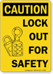 Caution Sign: Lock Out For Safety(with graphic)
