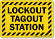 Lockout Tagout Station With Striped Border Sign