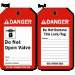 Do Not Open Valve Danger Tag