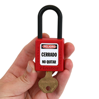 Spanish Danger Locked Out Padlock Label