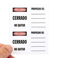 Spanish Peligro Cerrado Padlock Label
