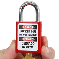 Bilingual Danger Locked Out Property Of Padlock Label