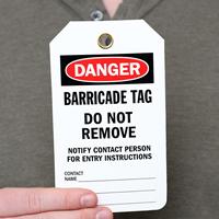 2-Sided Barricade OSHA Danger Status Tag
