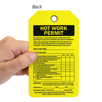 Hot Work Permit Two-Sided Confined Space Tag