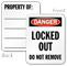 2-Sided Danger Locked Out Padlock Label